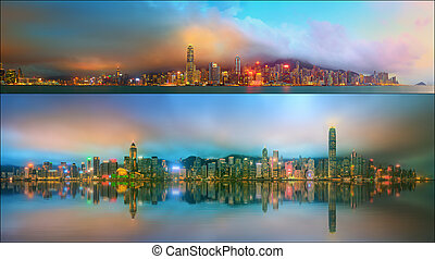 Beautiful cityscape set and collage of Financial district, Hong Kong
