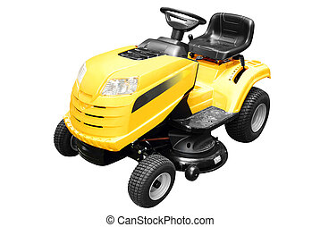 yellow lawn mower isolated
