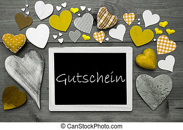 Chalkbord With Many Yellow Hearts, Gutschein Means Voucher -...