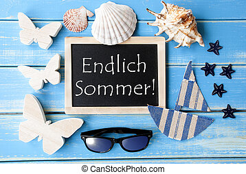 Blackboard With Maritime Decoration, Endlich Sommer Means...