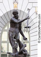 estátua, de, Poseidonon, em, Gdansk, Polônia