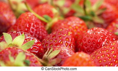 Red Strawberries Rotate - Fresh, Ripe, Juicy Strawberries...