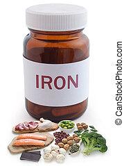 Iron supplements pill jar concept