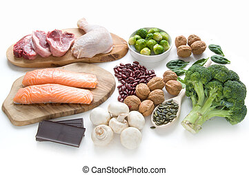 Iron rich foods over a white background