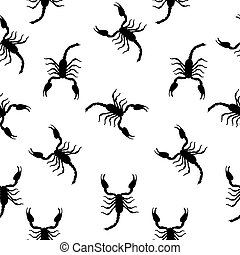 Large Scorpion Silhouette Seamless Pattern Background Vector Ill