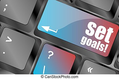 set goals button on keyboard - business concept vector...