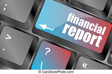 keyboard key with financial report button vector keyboard...