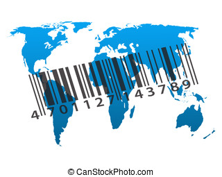 Worldwide consumerism - Blue outline map of world with...