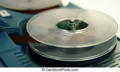 Retro Reel Audio Recorder Reels Spinning. Close Up
