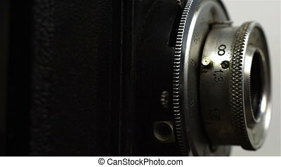 Retro Vintage Camera With Focus Lens. Close Up