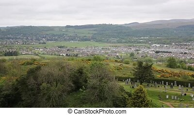 Panoramic view of Stirling Scotland UK with the countryside...
