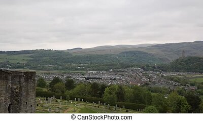 View of Stirling Scotland pan - Panoramic view of Stirling...