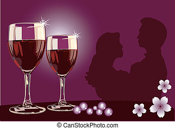 Dating with wine on table with flowers in the background
