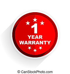 warranty guarantee 1 year icon, red circle flat design...