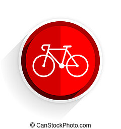 bicycle icon, red circle flat design internet button, web...