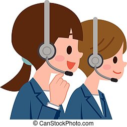 Women working in call center - Vector illustration.Original...