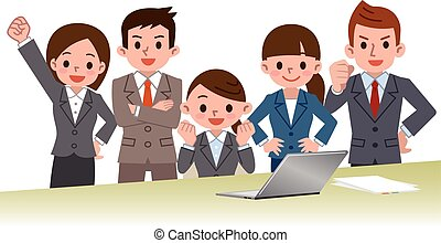 Businessman and career woman - Vector illustration.Original...
