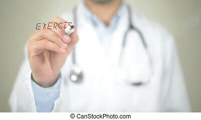 quot;Health Care Concept, Doctor writing on transparent...