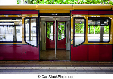 BERLIN - MAY 18: lectric Train Arrived on U-Bahn Subway...