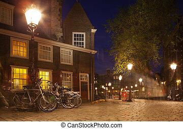 Amsterdão, rua, em, noturna