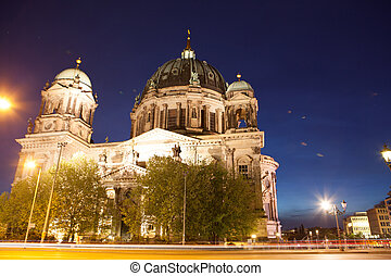 Berlin Cathedral, or Berliner Dom, illuminated at night