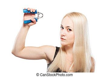 Fitness girl excersising - Fitness blond girl exercising her...