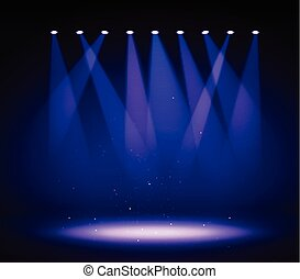 Various stage lights in the dark. Spotlight on stage.