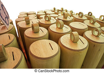 Bamboo processing - Piggy bank made from bamboo hole they...