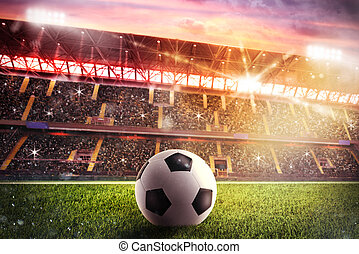 Soccerball at the stadium - Soccerball on the lawn of a...
