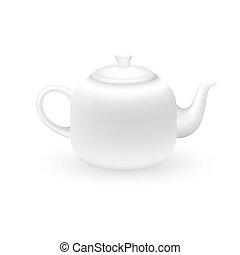 White teapot on a white background.
