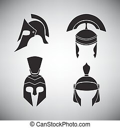 Set of helmets of different periods.