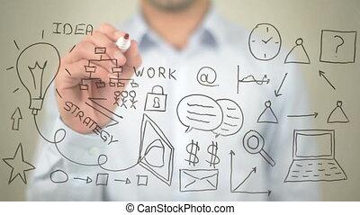 """Business, Concept Illustration, Man writing on transparent..."