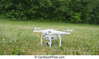 Drone take off in slow motion - Drone flying in slow motion,...
