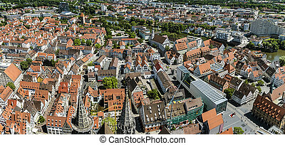 Birds eye view over Ulm, shot from the tower of the minster...