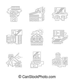 Film industry and cinema line detail vector icons - Cinema...