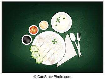 Hainanese Chicken Rice on A Green Chalkboard - Cuisine and...