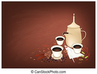 Traditional Arabic Coffee with Spiced on Chalkboard -...