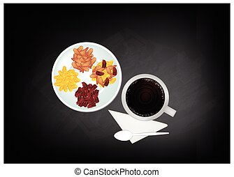 Hot Coffee and Raisins or Dried Grape on Chalkboard - Coffee...