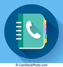 Address phone book icon, notebook icon Flat design style