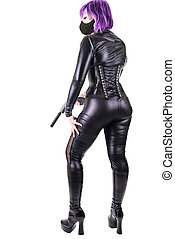 Sexy killer - Sexy masked woman holding guns, isolated on...