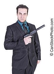 guapo, hombre, tenencia, arma de fuego,