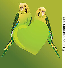 Love Birds - Two love birds on a heart shape of green colour...