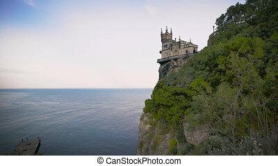 well-known castle Swallow's Nest near Yalta in Crimea, -...