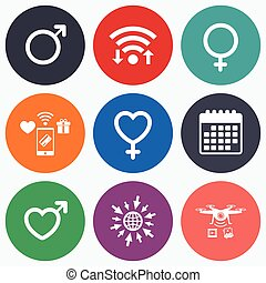 Male and female sex icons Man Woman signs - Wifi, mobile...