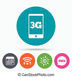 3G sign Mobile telecommunications technology - Wifi, Sms and...
