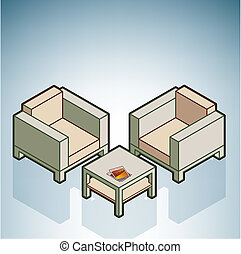 Chairs & Coffee Table (part of the Modern Furniture...