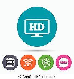 HD widescreen tv High-definition symbol - Wifi, Sms and...