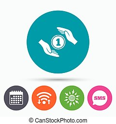 Protection money sign icon. Hands protect cash. - Wifi, Sms...