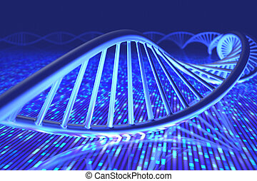 DNA Senger Sequence - 3D illustration, concept of DNA and...