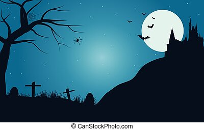Halloween tomb with full moon